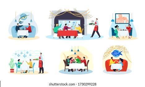 Fish restaurant and sea food, people eat meals at table, seafood dishes, party set of isolated flat vector illustrations. Man and women at fish restaurant, waiter with asian cuisine, fishes in water