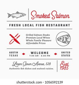 Fish Restaurant Signs, Titles, Inscriptions and Menu Decoration Elements Set. Premium Quality Retro Typography Layout with Hand Drawn Food Icons and Symbols. Vintage Salmon Label Template. Isolated.