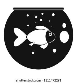 Fish round aquarium icon. Simple illustration of fish round aquarium vector icon for web design isolated on white background