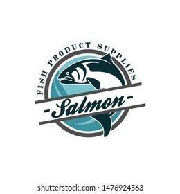 Fish Salmon Logo Vintage Badge Template