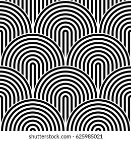 Fish scale seamless pattern background. Abstract design element. Black vector illustration of striped concentric circles.