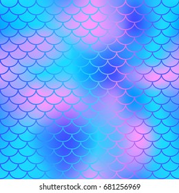 Fish scale texture vector pattern. Magic mermaid tail background. Cool color palette seamless pattern with fish scale net. Blue pink mermaid skin surface. Mermaid seamless pattern swatch. Magic fish