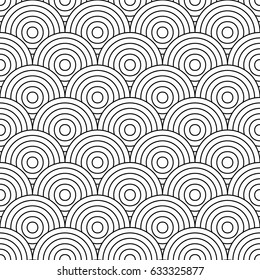 Fish scale wallpaper. Asian traditional ornament with repeated scallops. Repeated black circles and semicircles on white background. Seamless surface pattern design with rings. Vinyl motif. Vector.