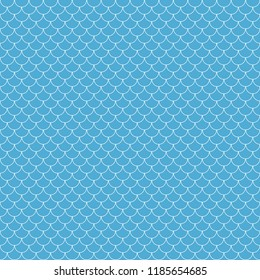 Fish Scales Seamless Pattern - Light blue and white fish scales or scallops design