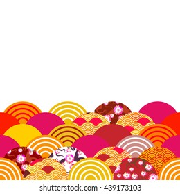 fish scales simple Nature background with japanese sakura flower, rosy pink Cherry, wave circle pattern blue orange red burgundy colors card banner design on white background. Vector