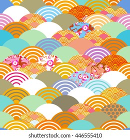 fish scales simple seamless pattern Nature background with japanese sakura flower, rosy pink Cherry, wave circle pattern blue orange red green colors. Vector