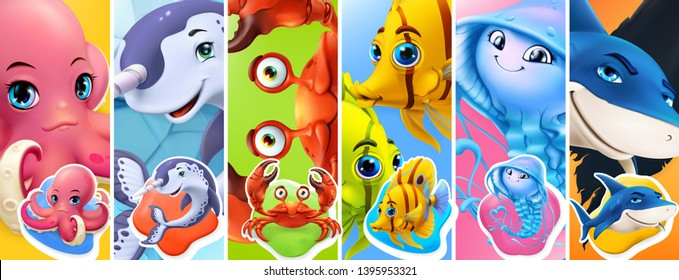 Fish and sea animals. Shark, octopus, jellyfish, crab, narwhal. Cartoon character 3d vector icon set