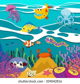 Fish and sea animals under the ocean illustration