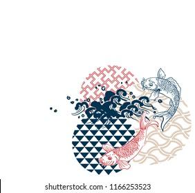 fish sea water circles japanese chinese vector design pattern card