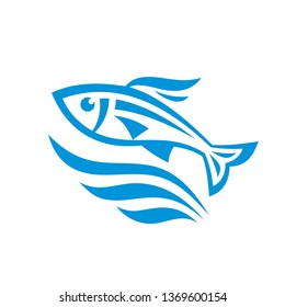 Fish and sea water waves - concept sign vector illustration in graphic line style.