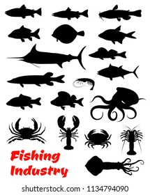 Fish and seafood black silhouette for fishing industry design. Crab, octopus and lobster, shrimp, squid and tuna, salmon, blue marlin and perch, trout, carp and flounder isolated icon