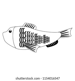 Fish seafood isolated in black and white