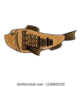 Fish seafood isolated scribble