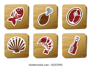 Fish, Seafood and Meat icons. Vector icon set. Three color icons on cardboard tags.