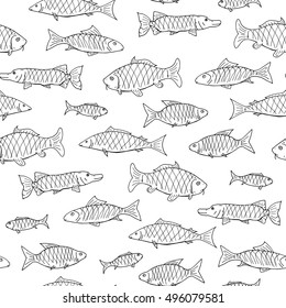 Fish seamless pattern in doodle style. Hand drawn vector illustration.
