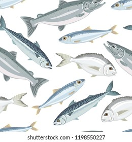 Fish seamless pattern on white background. Mackerel, salmon, sardine, dorado. Vector illustration of seafood in cartoon flat style.