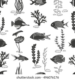 Fish seamless pattern. Underwater vector background. Silhouettes of corals, seaweeds and fish isolated on white.