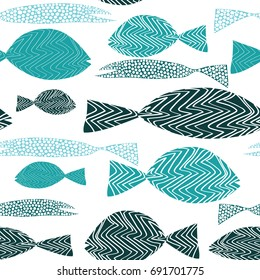 Fish seamless pattern. Various turquoise fish with stripes and dots. Vector illustration on white background