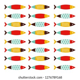 Fish seamless pattern vector flay style portugal