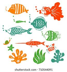 Fish and seaweed vector