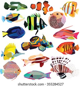 fish set colorful low poly design isolated on white background.