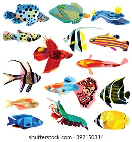 fish set colorful low poly designs isolated on white background.