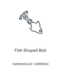 Fish Shaped Bait concept line icon. Linear Fish Shaped Bait concept outline symbol design. This simple element illustration can be used for web and mobile UI/UX.
