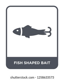 fish shaped bait icon vector on white background, fish shaped bait trendy filled icons from Nautical collection, fish shaped bait simple element illustration