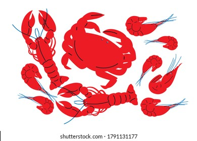 Fish, shrimp, crabs, lobster ingredients vector in abstract style. Vector illustration of silhouette of seafood. Illustration for your flyer design. Clipart of sea food modern style.