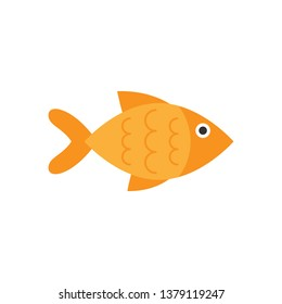 Fish sign icon in flat style. Goldfish vector illustration on white isolated background. Seafood business concept.