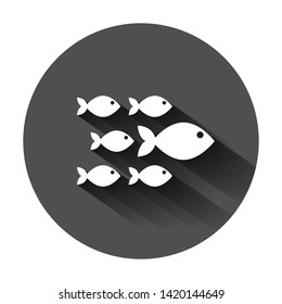 Fish sign icon in flat style. Goldfish vector illustration on black round background with long shadow. Seafood business concept.