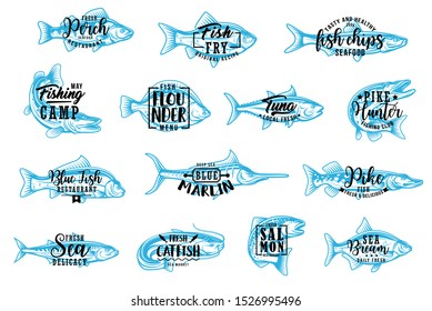 Fish silhouette isolated icons with lettering. Vector seafood and fishing club, perch and fry fish chips, flounder and tuna. Pike, marlin, catfish and salmon, bream