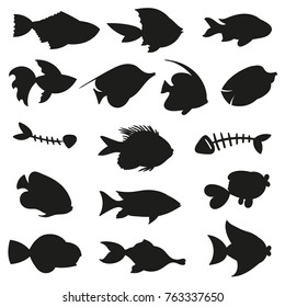 Fish silhouettes - big vector set, isolated on white background