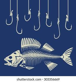 fish skeleton and fishhook
