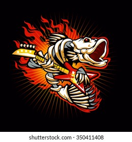 Fish skeleton flame