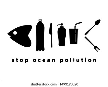 Fish skeleton as plastic trash. Ribs like a bottles, disposable glass, drinking straw, plastic spoon, fork, knife. The problem of microplastics in marine life. Keep the sea concept. Ocean pollution