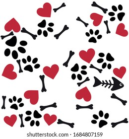 Fish skeleton, Red Heart, Dog Paw, simple vector background