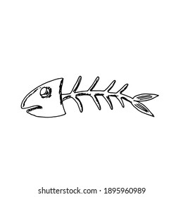 Fish skeleton. Vector illustration. Doodle. Hand drawing.