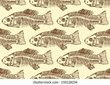 Fish skeleton, vector seamless pattern