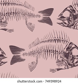 Fish skeletons hand drawn seamless pattern. Vector wallpaper for your design or print.