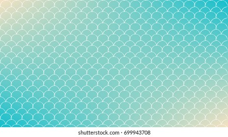 Fish skin on trendy gradient background. Horizontal backdrop with fish skin ornament. Bright color transitions. Mermaid tail banner and invitation. Underwater sea pattern. Turquoise, blue colors.