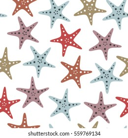 fish stars on transparent background seamless pattern blue red pink
