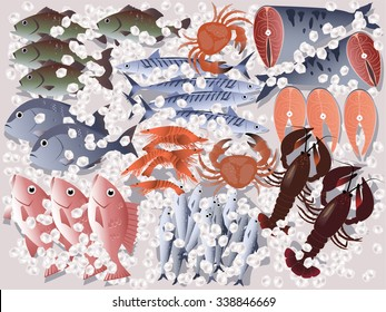 Fish store display, assorted seafood on ice, EPS 8 vector illustration, no transparencies