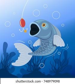 Fish swallows bait. Fishing concept. Vector flat cartoon illustration