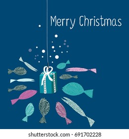 Fish swimming around the present on the rods. Vector illustration of turquoise and purple fish on the dark blue background. Merry christmas