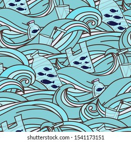 Fish swimming in a ocean full of garbage. Plastic garbage, bag, bottle, plastic conteners, straws and cutleryin the ocean. Vector illustration. Seamless pattern background