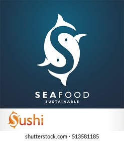 Fish symbol. Fresh seafood logo template design. Vector illustration. S logo. Letter S like fish symbol. Squid. Calamari. Clam. Crab. Shrimp. Lobster. Tuna. Salmon. Seafood restaurant.