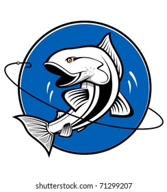 Fish symbol isolated on white - also as emblem. Jpeg version also available in gallery