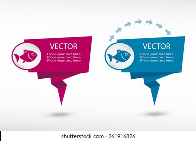 Fish symbol on origami paper speech bubble or web banner, prints. Vector illustration