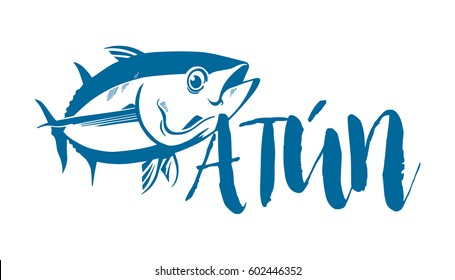 Fish symbol on white background, Vector. Sport fishing club, restaurant, canned, food logo.  Tuna written in spanish